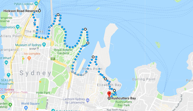 Sydney Harbour Bridge to Rushcutters Bay Walk Map