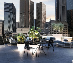 Lancemore Crossley St. Melbourne CBD Accommodation Rooftop Bar City Scenery